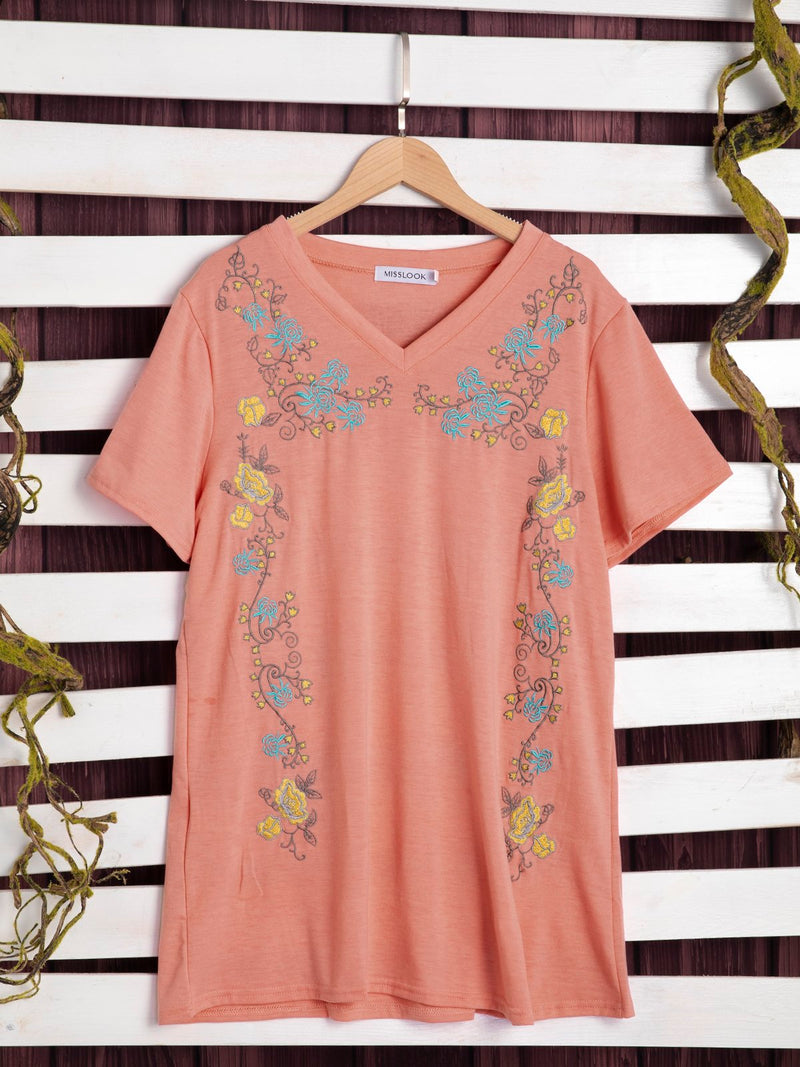 Cotton-Blend Short Sleeve Printed Shirts & Tops