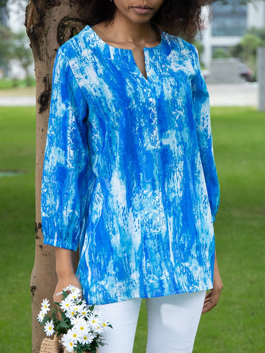 Abstract Printed Chiffon 3/4 Sleeve Shirts