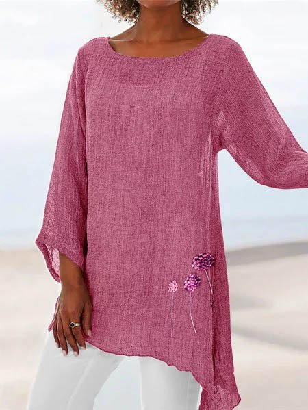 Floral Summer Beach Crew Neck Linen Long Sleeve Shirts & Tops