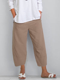 Plus Size Crop Pants Women Solid Pockets Pants