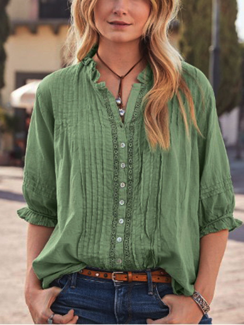 Green Half Sleeve Cotton-Blend Shirts & Tops