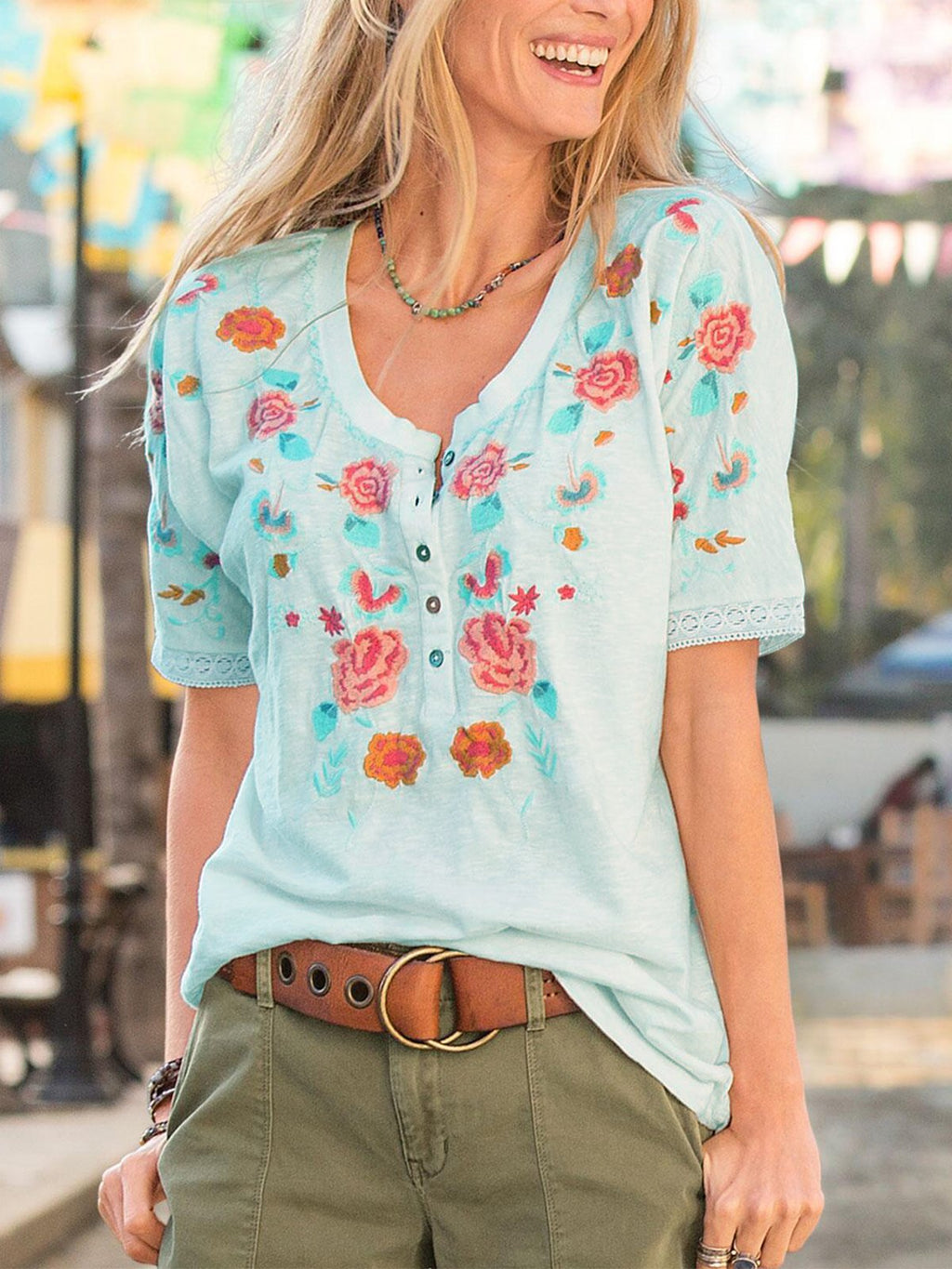 Casual Floral-Print Short Sleeve Shirts