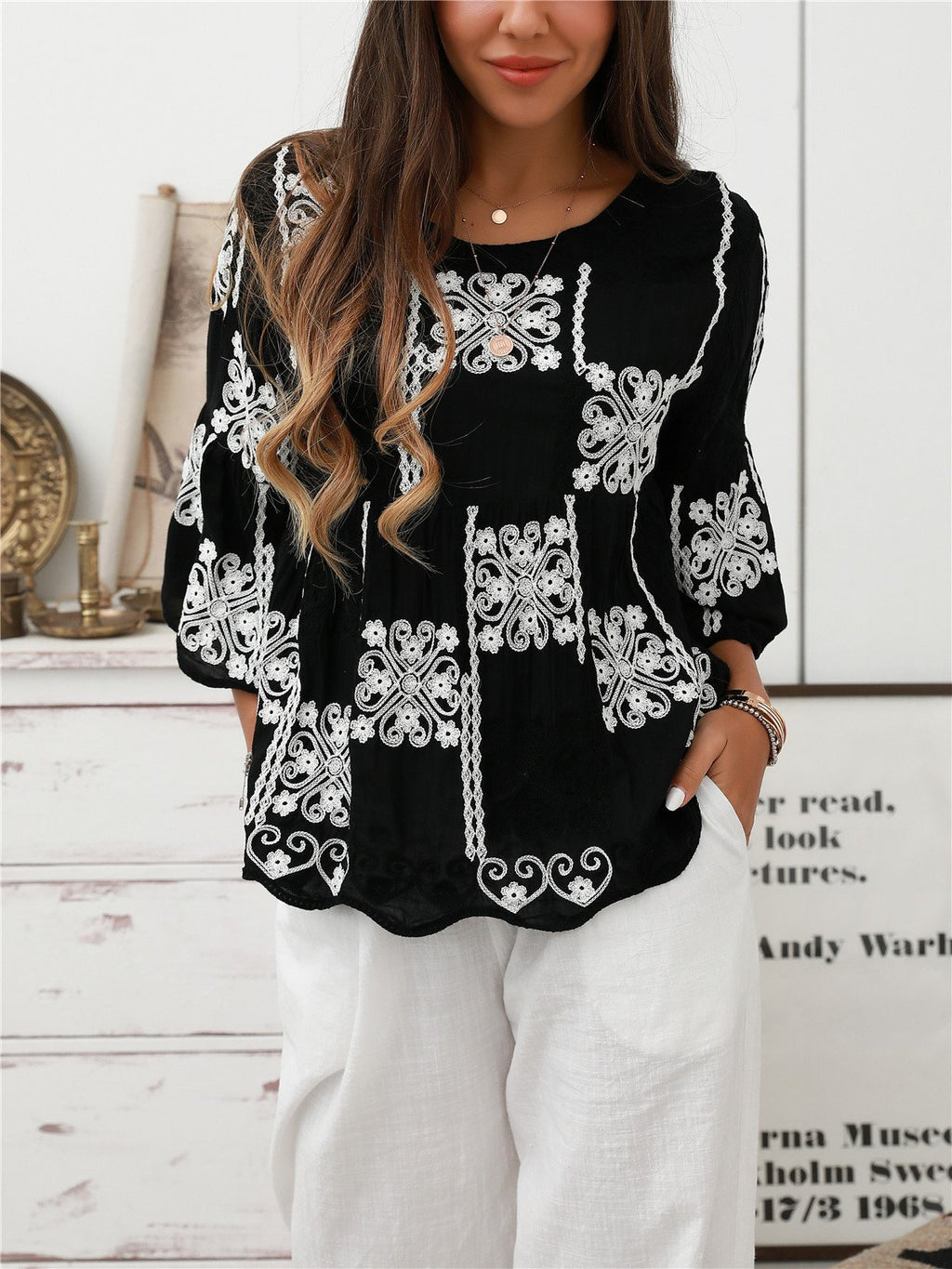 Black-White Crew Neck Cotton-Blend Boho Shirts & Tops