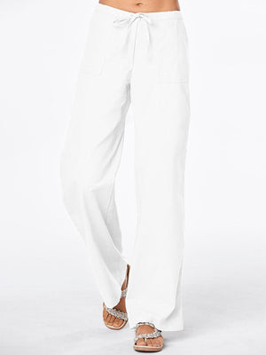 Solid Color Pockets Casual Linen Pants