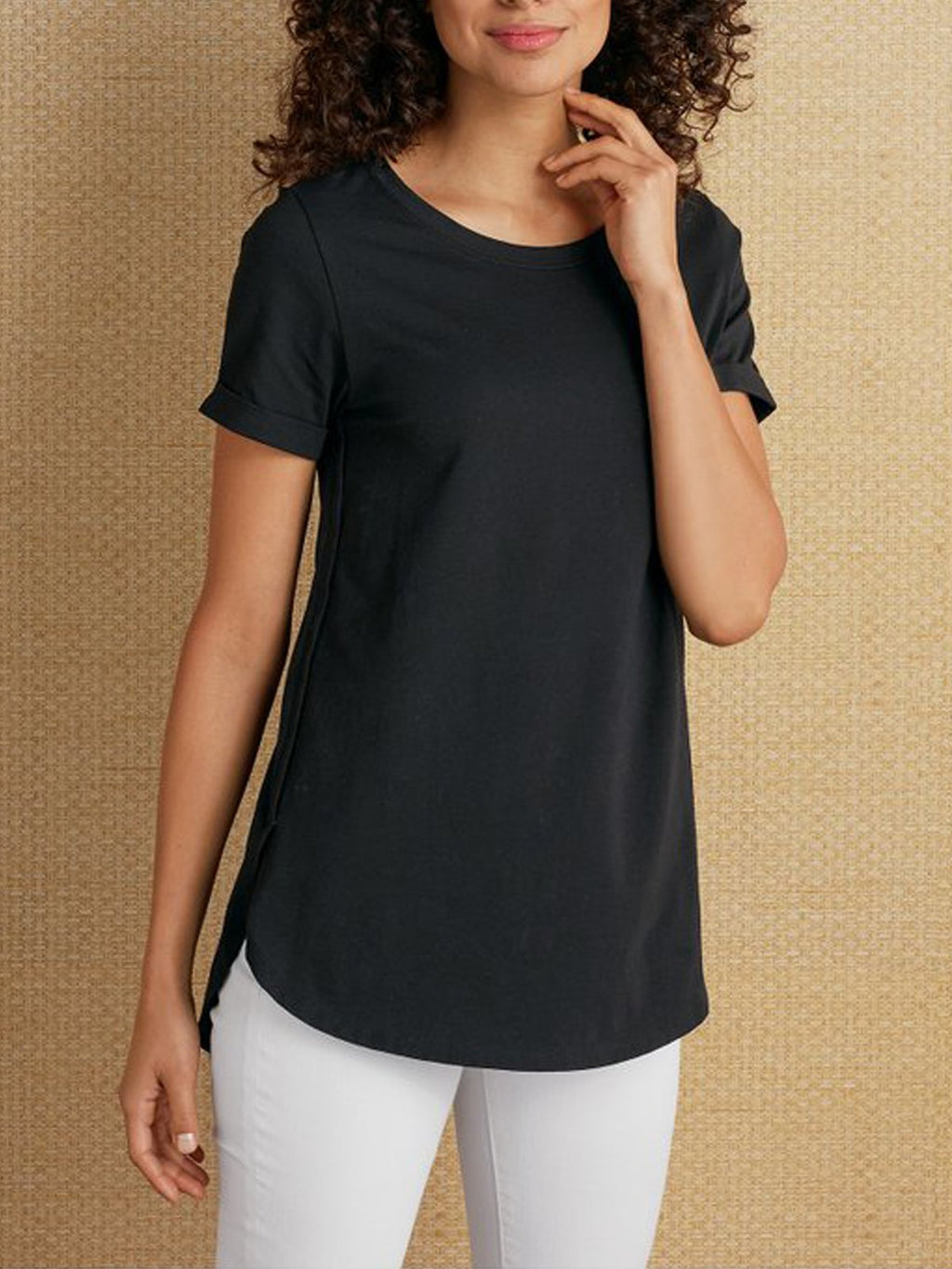 Casual Cotton Crew Neck Plain Shirts & Tops