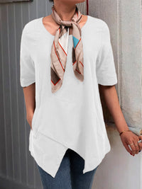 Half Sleeve Irregular Plus Size Blouses Asymmetrical Hem Shirts