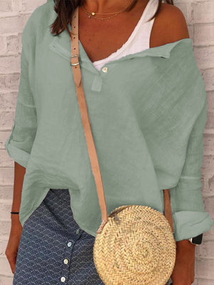 Casual V Neck Long Sleeve Solid Shirts & Tops