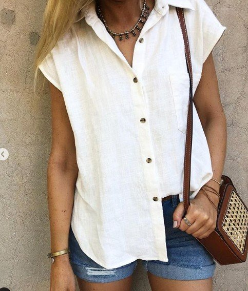 Summer Casual Linen Plain Blouses