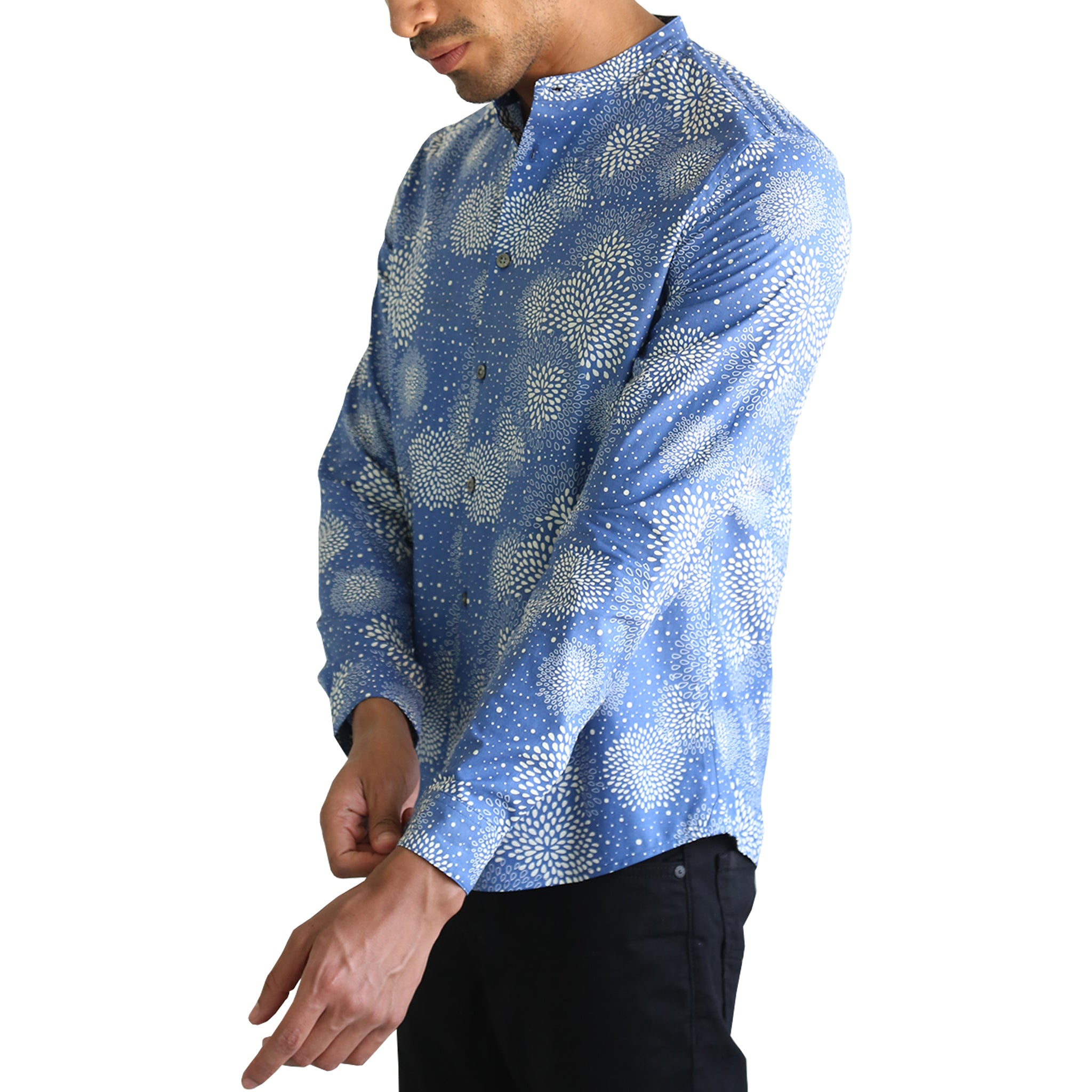 Drop Stand-Up Collar Shirt