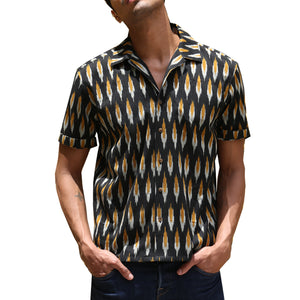 Ikat Gold Revere Collar Shirt
