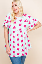 Load image into Gallery viewer, Plus Size Cute Adorable Heart Jersey Babydoll Tunic Top