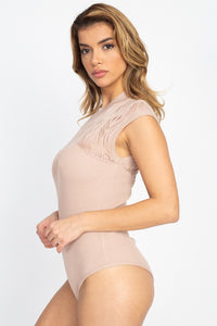 Pointelle Knit Mock Neck Bodysuit