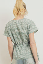 Load image into Gallery viewer, Printed Woven Surplice Gathered Short Sleeve Top