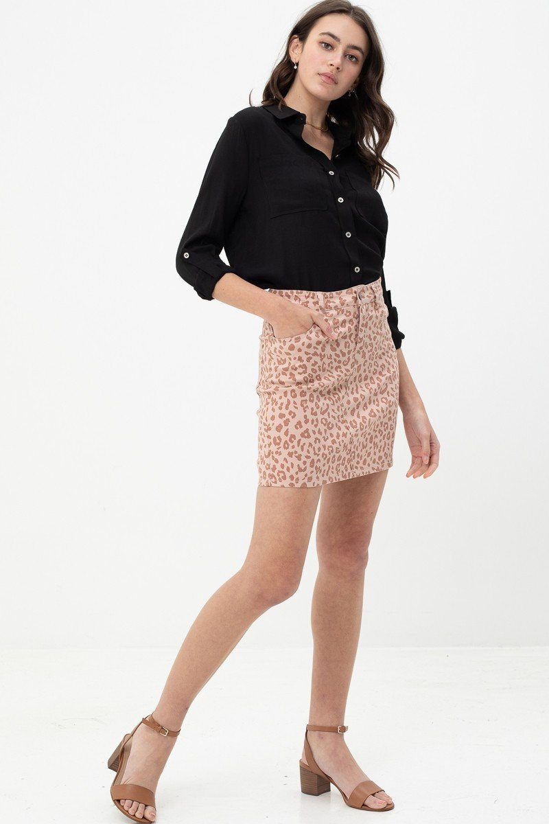 Leopard Printed Cotton Span Mini Skirt