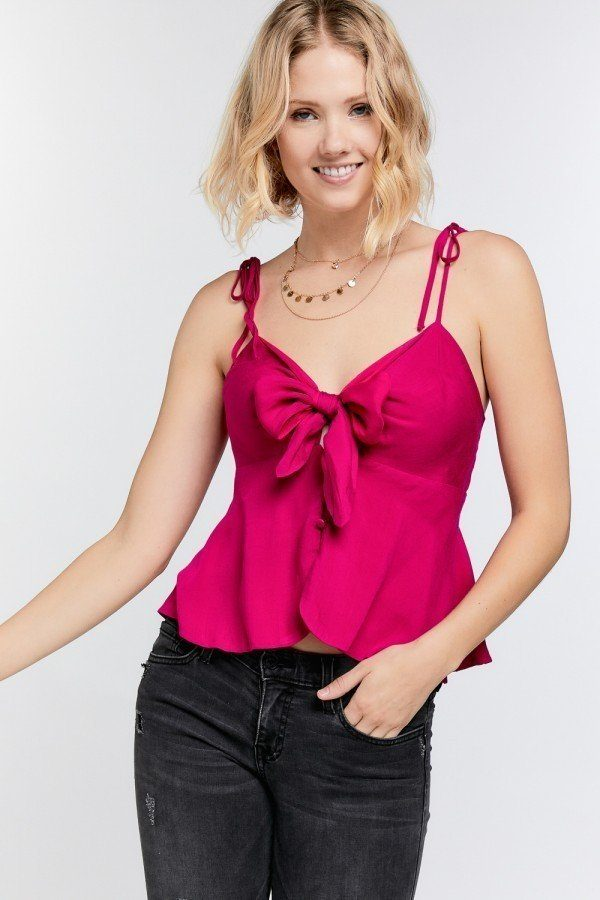 Cutout Detail Ruched Twist Bow Sweetheart Neckline Smocked Back Ribbon Tie Spaghetti Strap Cami Top
