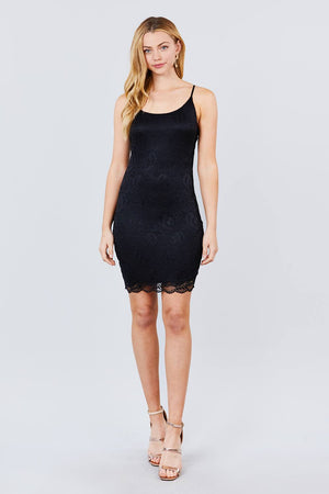 Cami Straps Round Neck Bottom Scallop Detail Bodycon Lace Dress