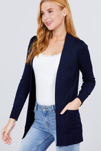 Load image into Gallery viewer, Long Sleeve Rib Banded Open Sweater Cardigan W/pockets