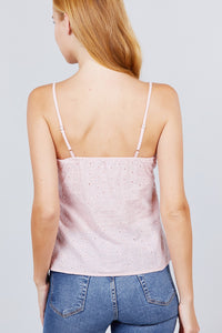 Sleeveless Front Button Detail With Back Smocked Stripe Woven Top