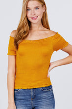 Load image into Gallery viewer, Short Sleeve Off The Shoulder Smocked Rayon Spandex Top