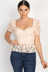 Sheer Lace Sweetheart Flounce Top