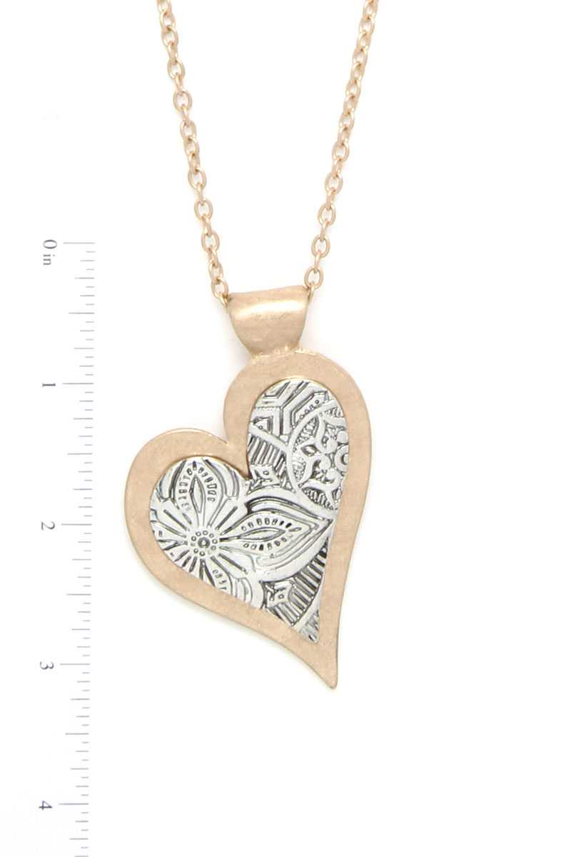 Two Tone Filigree Hert Shape Pendant Necklace