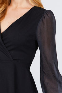 Puff Sleeve V-neck Peplum Top