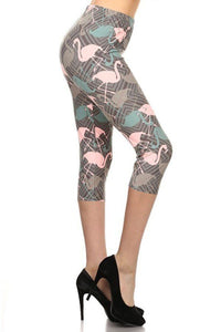 Flamingos Printed Knit Capri Legging With Elastic Waistband