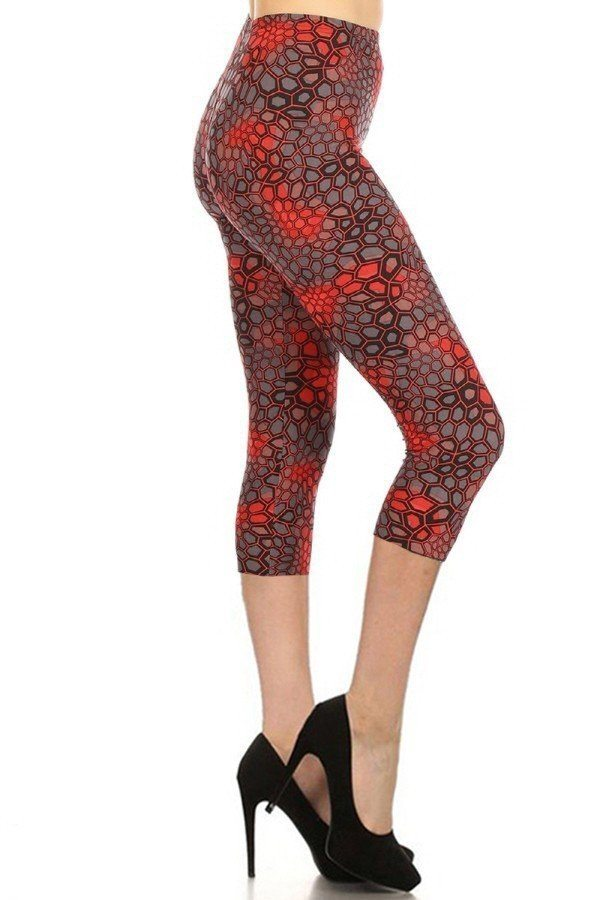 Printed, High Waisted, Capri Leggings With An Elasticized Waist Band