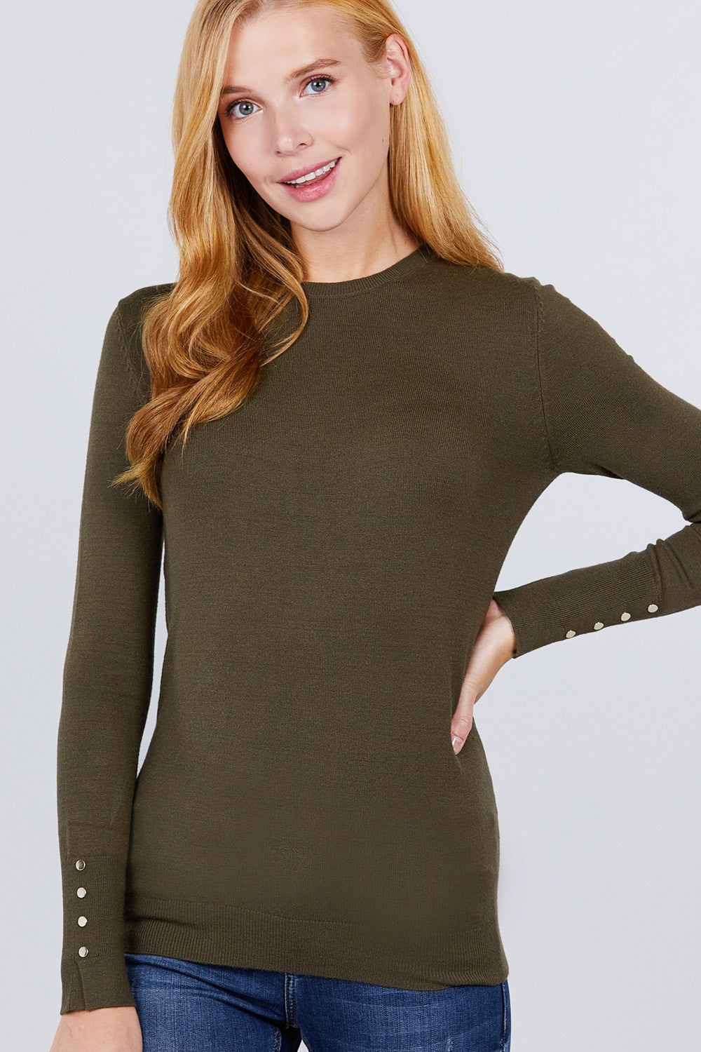 Crew Neck Sweater W/rivet Button