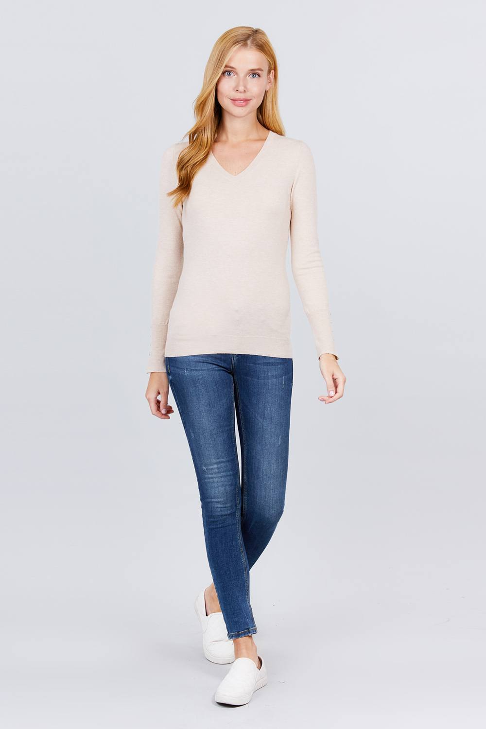 V-neck Sweater W/rivet Button