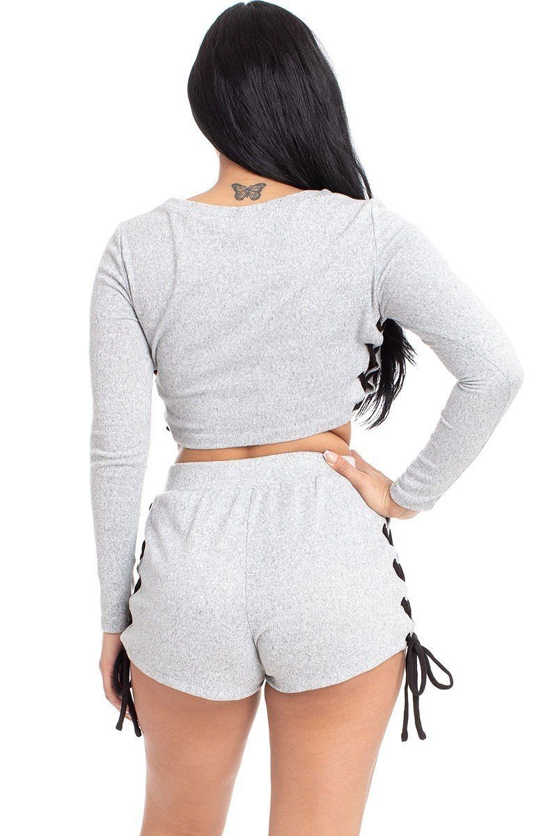Color Contrast Lace Up Side Shorts Set