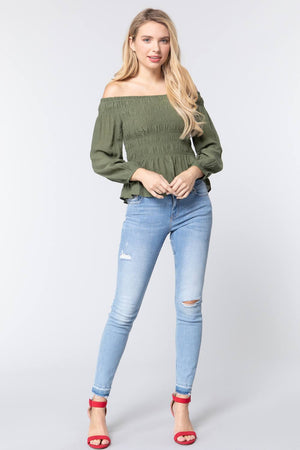 Off Shoulder Smocked Woven Top