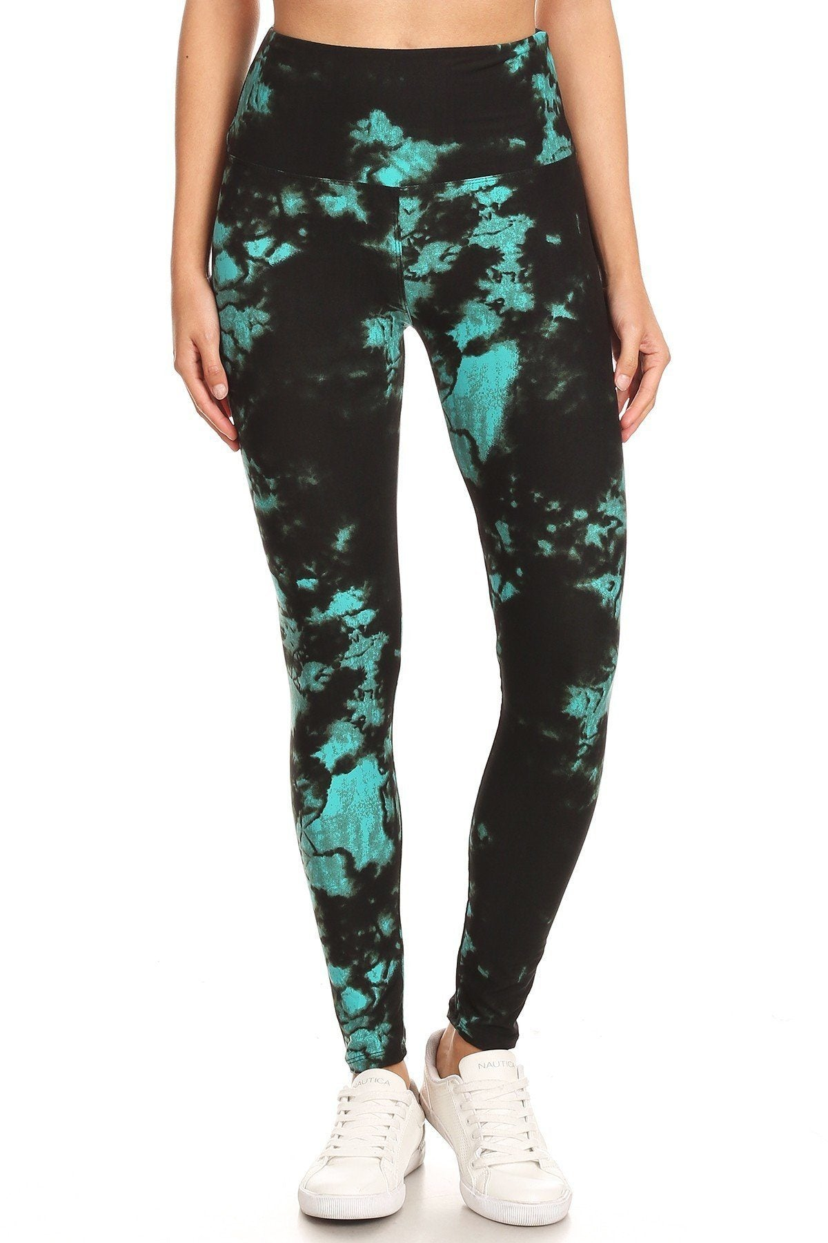 5-inch Long Yoga Style Banded Lined Tie Dye Printed Knit Legging With High Waist