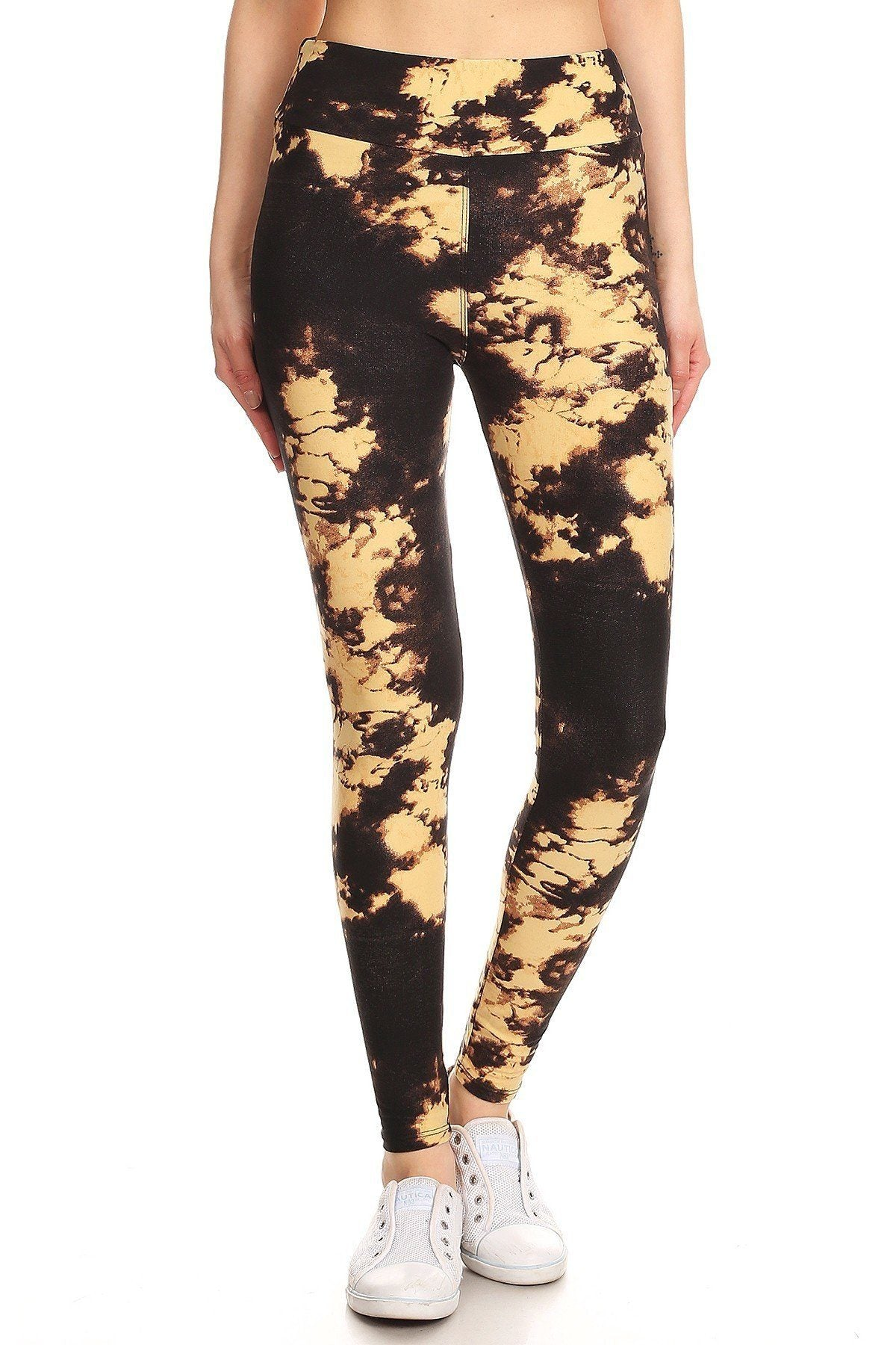 Yoga Style Banded Lined Tie Dye Print, Full Length Leggings In A Slim Fitting Style With A Banded High Waist.