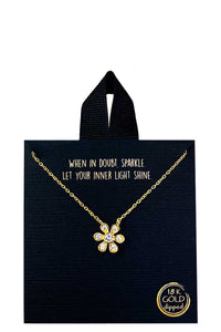 18k Gold Rhodium Dipped Flower Pendant Necklace