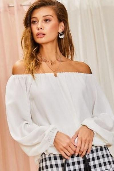 Off Shoulder Long Bubble Sleeve Solid Top