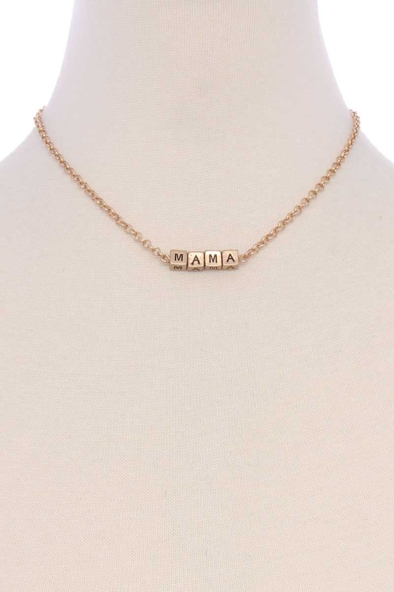 Metal Love Mama Block Letter Necklace