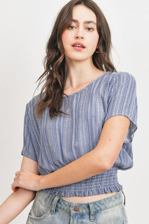 Woven Printed Crinkle Gauze Waist Smocking Short Sleeve Top