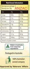 Anzac Chocolate Chip nutritional panel