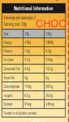 chocolate chip nutritional panel