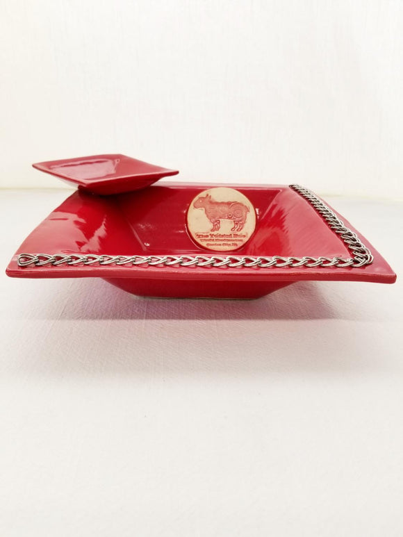 My Restless Art Square Double Dish - Red