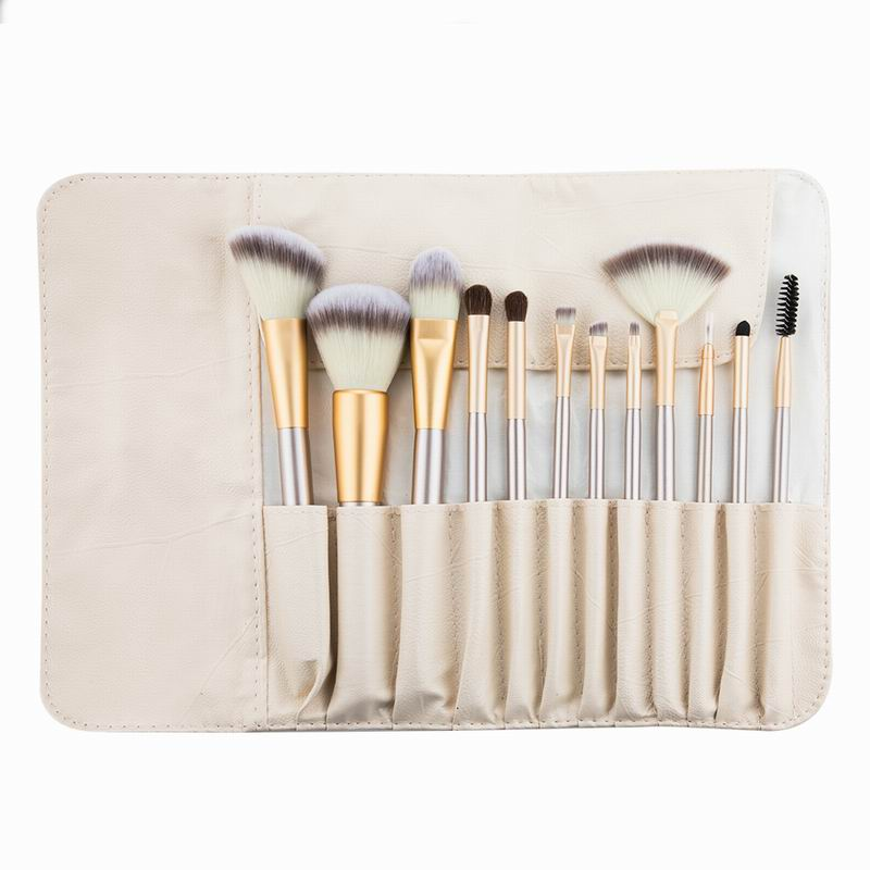 Professional Makeup Brush Set with Leather Bag (12 pcs)