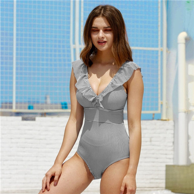 V Neck Striped Swimsuit For Women