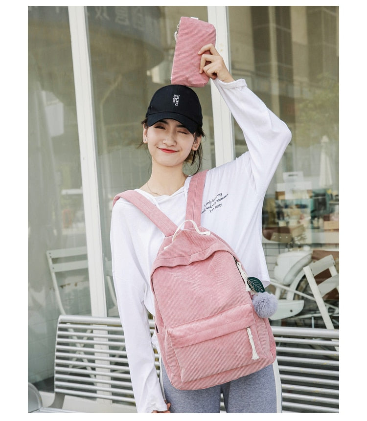 Soft Corduroy Backpack with Pouch
