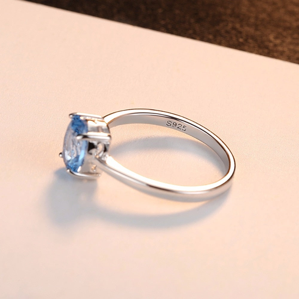 Blue Oval Topaz Stone Ring