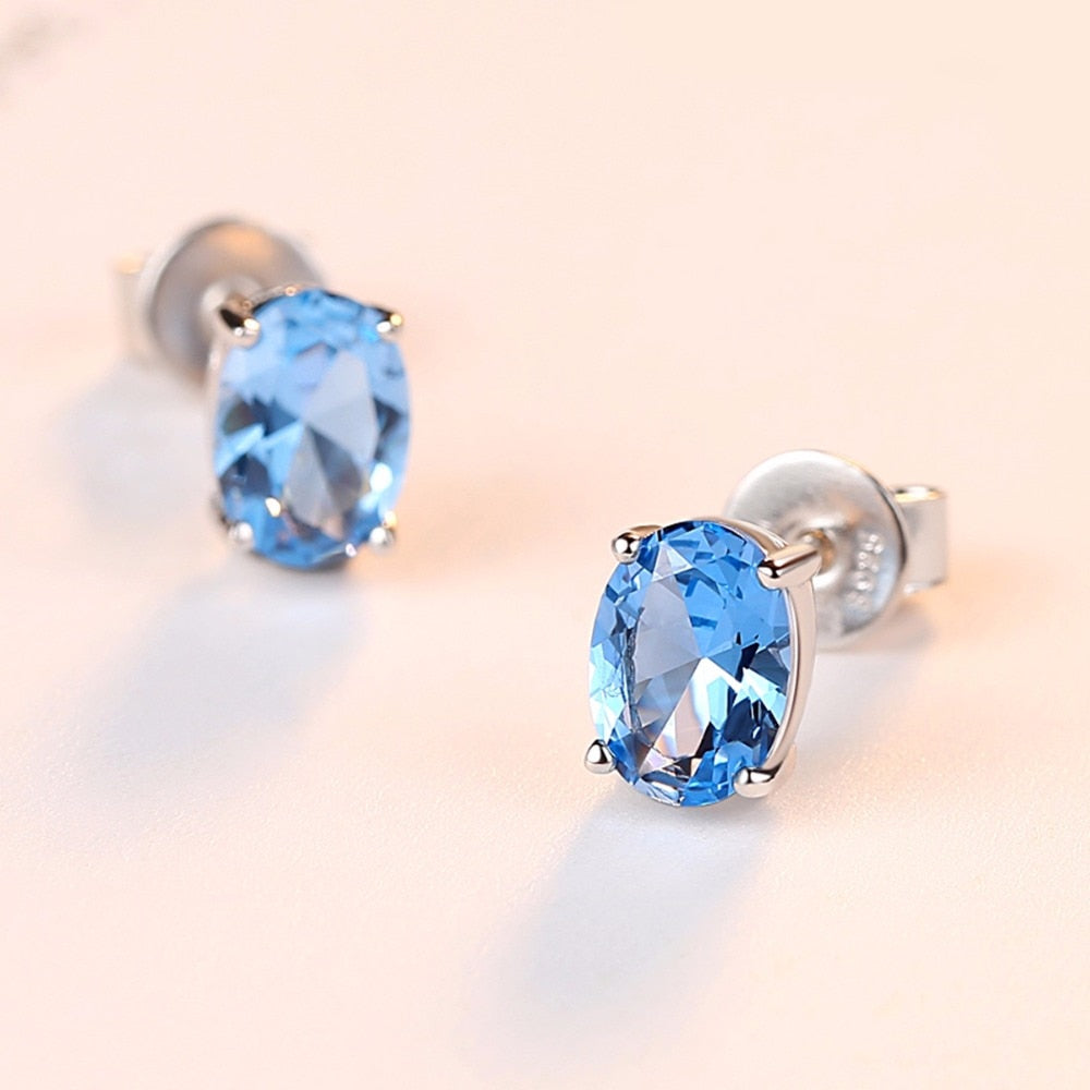 Blue Oval Topaz Stone Earrings (1.8 Carat)