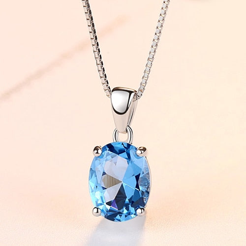 Blue Oval Topaz Stone Necklace (2.3 Carat)