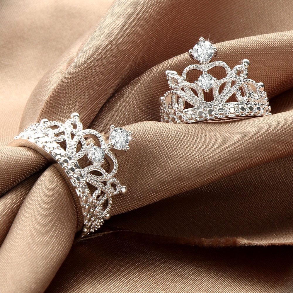 Silver Princess Crown Rings