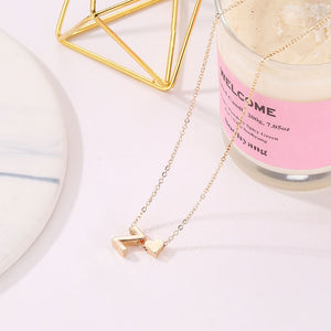 Tiny Heart and Letter Necklace