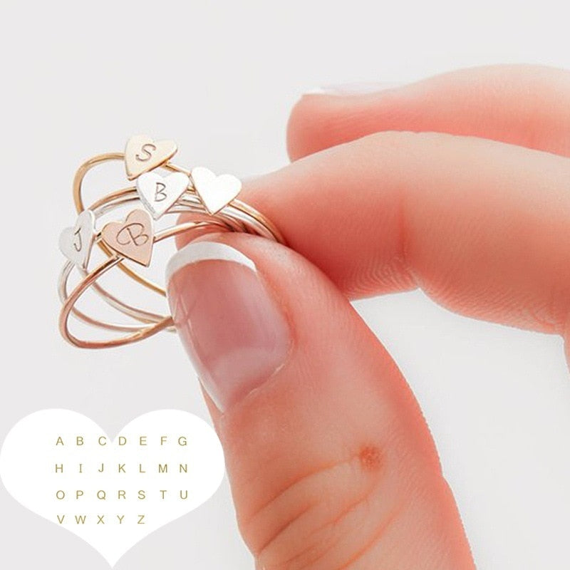 Custom Letter Heart Ring